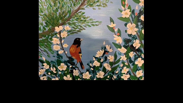 Baltimore Oriole in Michigan Apple Tree Blossoms is the art work designed for the Appreciating Nature Through Art Event on June 26th.                                                                                               --Courtesy Photo