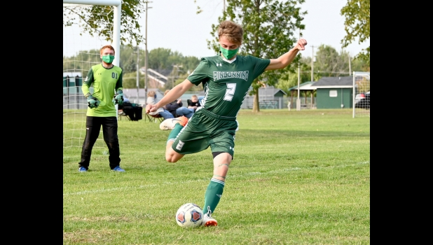 JOSH DYBAS (#2) takes a goal kick in the Spartan's 2-1 loss to Lincoln Alcona last Tuesday.                        --Journal Photo