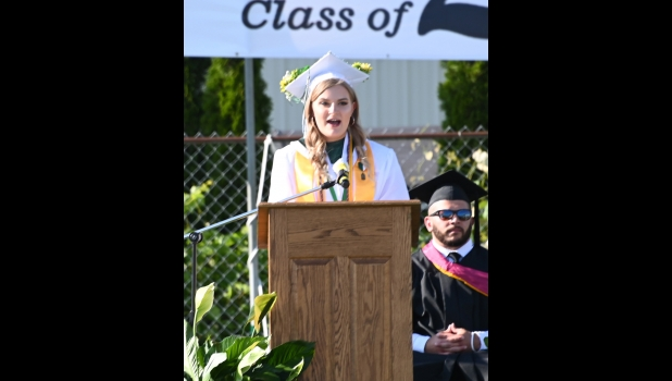 2020 PHS VALEDICTORIAN MEGAN MCLAREN addresses fellow graduates during Thursday evening's Commencement Exercises. The event capped a chaotic senior year for the Class of 2020. See a full page of color photos on page 7.      --Journal Photo