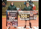 JACOB BROOKS (L) AND ARTHUR DENNISON each scored their 100th win as a Spartan wrestler on Saturday in the teams first meet of the year, a quad at Michigan Lutheran Seminary. Brooks was 3-0 on the day, while Dennison was 2-1.              --Courtesy Photo