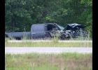 TWO CHEVY SILVERADOS involved in the fatal Tuesday morning crash that closed the southbound lanes of I-75 last Tuesday morning. Damage to the two trucks was extensive though not obvious in these shots.                                                                       --Journal Photo