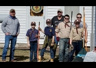Cub Scout Pack 3139 (l to r) Kyle Groh, Ethan Newman, Logan Peckham, Brayden Scherzer, Karson Peckham posing with two members from Sons of the American Legion (SAL) after their Cleanup project at the American Legion Hall in Crump.                                                                                                                       --Courtesy Photo