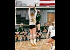 RAYNE WILSON (#1) goes up for one of her 9 kills in the Spartans 3-2, come-from-behind victory over Clare last Thursday.            --Journal Photo