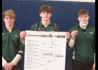 ART DENNISON, TYLER BROOKS, AND JACOB BROOKS (l-r) celebrate their performance at last Saturday's MHSAA Individual Wrestling Districts. They all qualified for the Regionals at Grayling this Saturday. 	                --Courtesy Photo